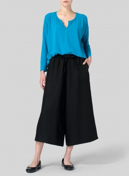 Teal Blue V-neck Boxy Top