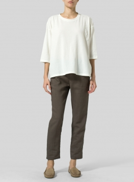 Cotton Three-Quarters Sleeve Knit Top