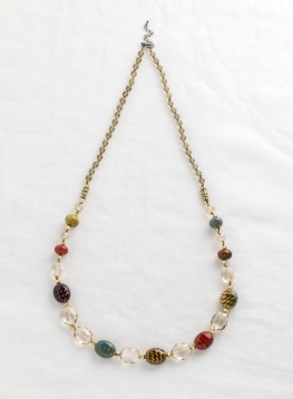 Golden Ceramic Beaded Necklace
