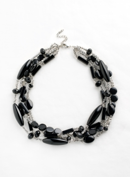 Black And White Multi-stranded Agate Necklace