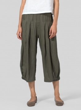 Linen Crumple Effect Harem Pants