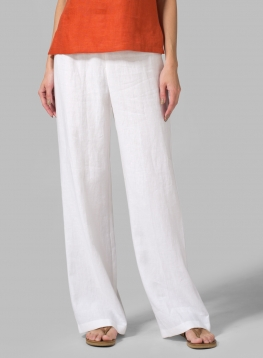 Linen Straight Leg Extra Long Trousers
