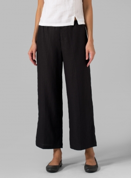 (Tall Size) Linen Wide-Leg Cropped Pants