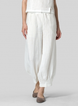 Linen Pleated Cuff Crop Pants