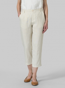 Linen Slim Cropped Pants