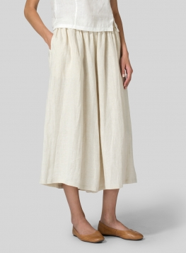 Linen Low Rise Wide Leg Pants
