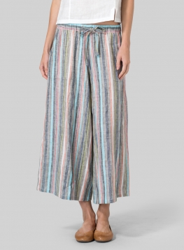 Linen Full Elastic Wide Leg Pants