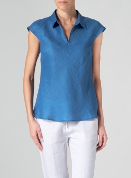 Linen Semi Sleeveless Bias Cut Blouse