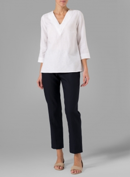 Linen Pleated Top
