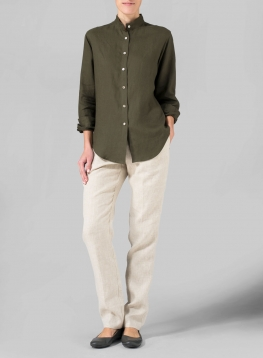 Linen Mandarin Collar Long Sleeve Shirt