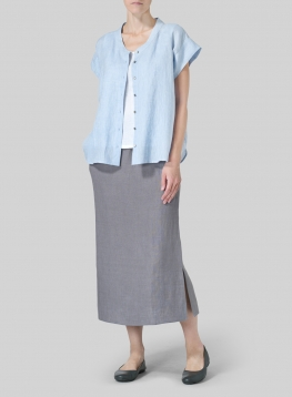 Linen Button Front Cap Sleeve Top