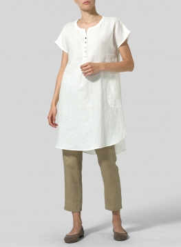 Linen Split Neck Long Tunics