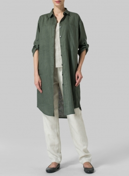 Linen Three Quarter Sleeve Long Tunic
