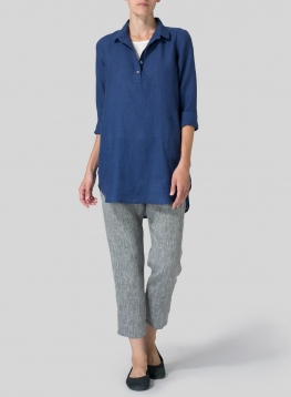 Linen Classic Collar Half Button Down Tunic