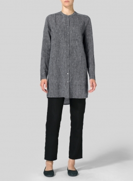 Linen Mandarin Collar Long Shirt
