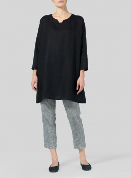 Linen Decolletage Neckline Long Tunic