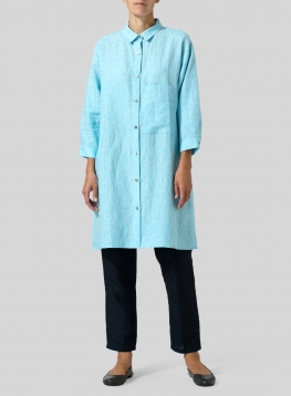 Linen Half-Sleeve Long Shirt