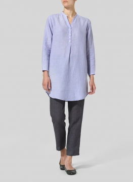 Linen Long Blouse With V-neck Mandarin Collar
