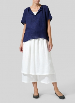 Wrinkled Gauze Linen Collarless Top