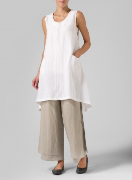 Linen Sleeveless Asymmetric Hem Tunic