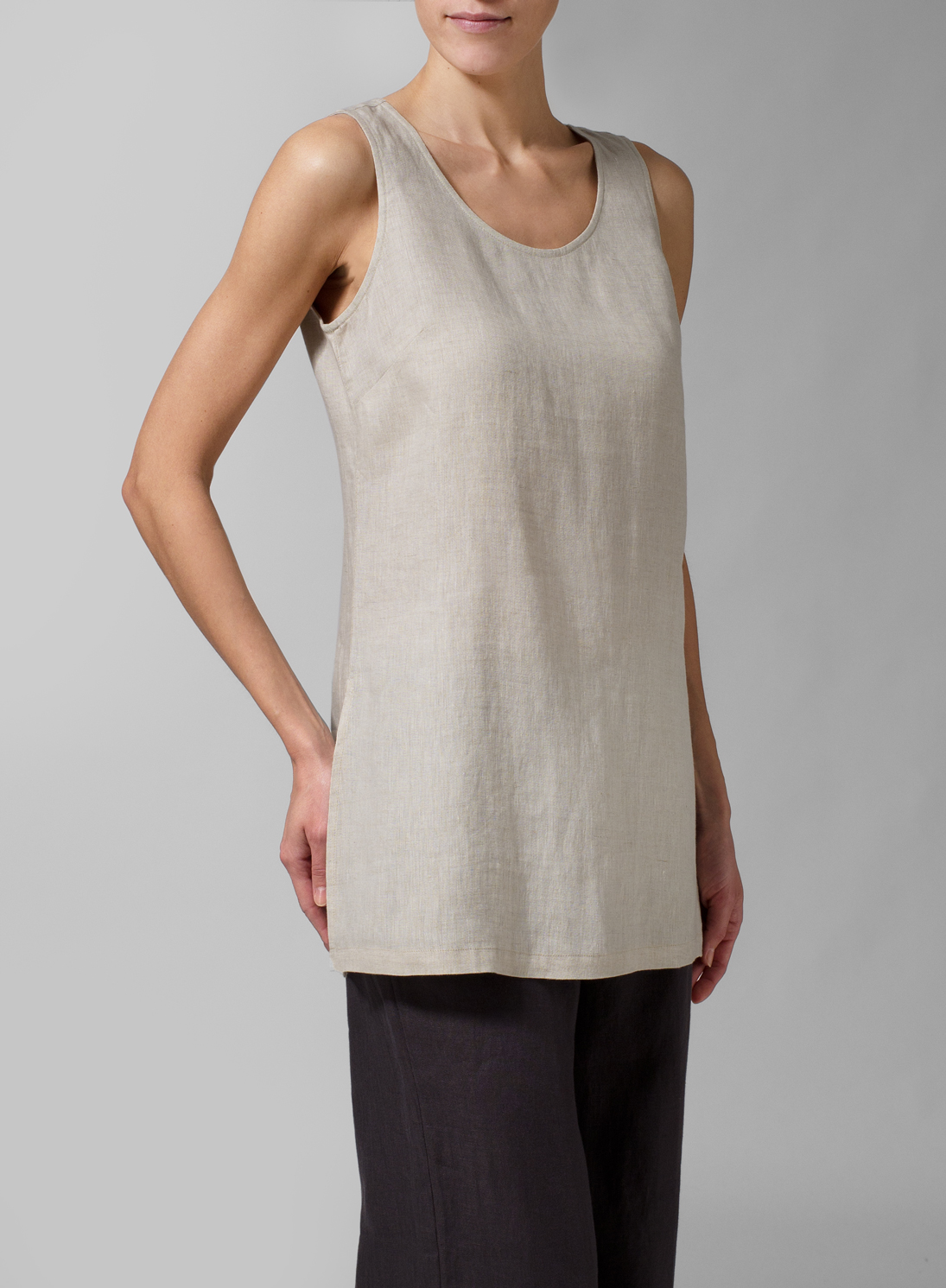 Missy Clothing Scoop Neck Long Linen Tanks