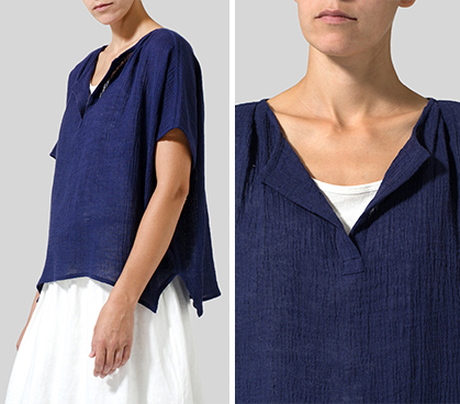Cobalt Blue Wrinkled Gauze Linen Collarless Top