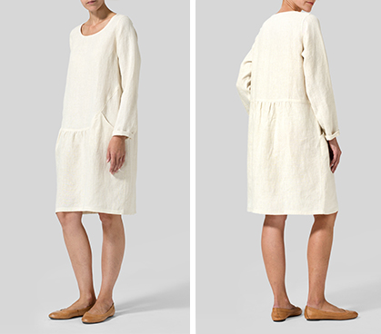Light Oat Linen Pleated-Waist Dress