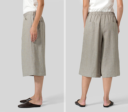 Two Tone Gray Green Linen Loose Ankle Pants Set