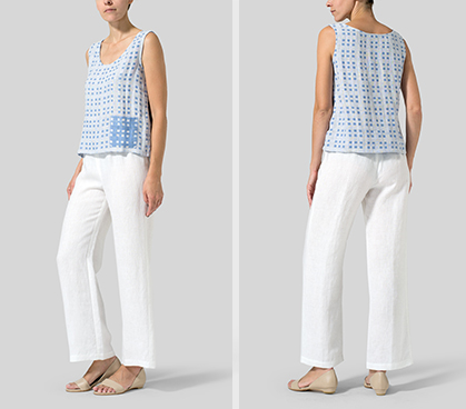 White Blue Checked Linen Pocket Tank Top