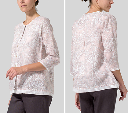 Pink Paisley Waves Lightweight Linen Embroidered Hemline Top