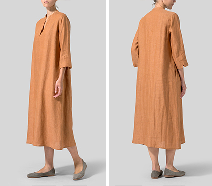 Rust Orange Linen V-neck Mandarin Collar Dress Tunic