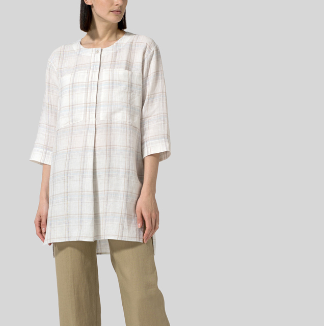 LINEN CHEST POCKET CHECKER TUNIC