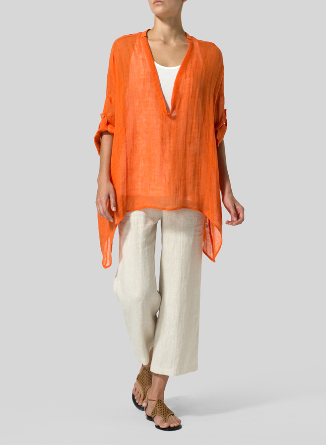 Orange Linen Delicate Deep V-neck Overtop