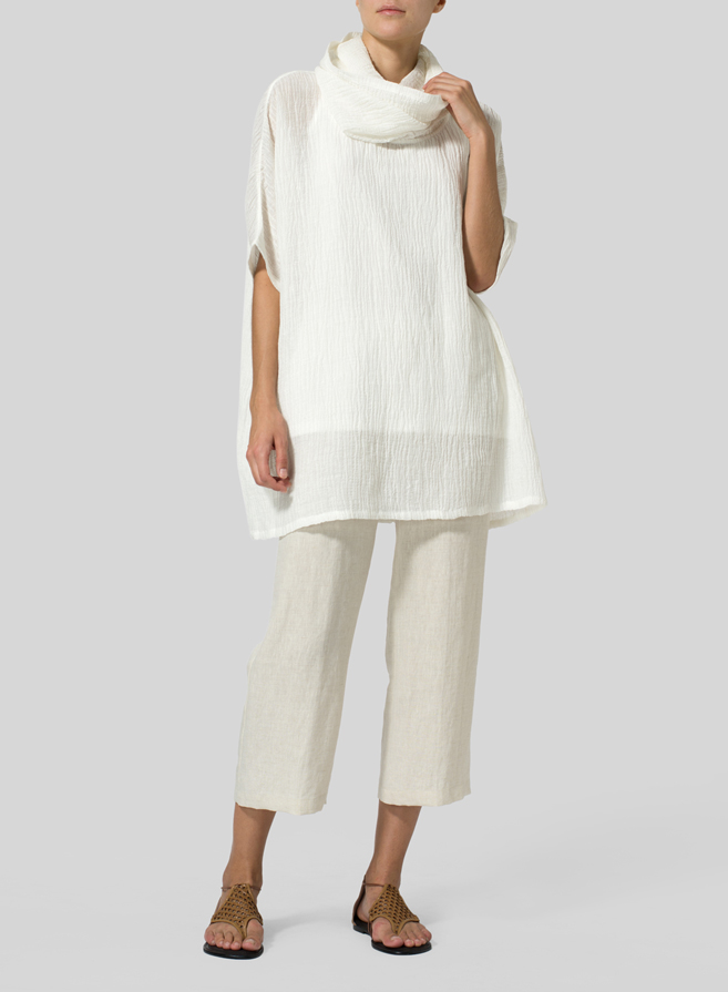 c9f215f5a31 ... Dress · White Linen Cowl Neck Gauze Tunic ...