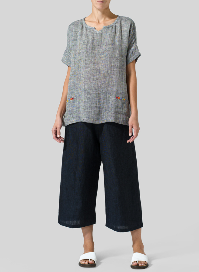 Black White Double Cloth Linen Doublecloth Short Sleeve Top