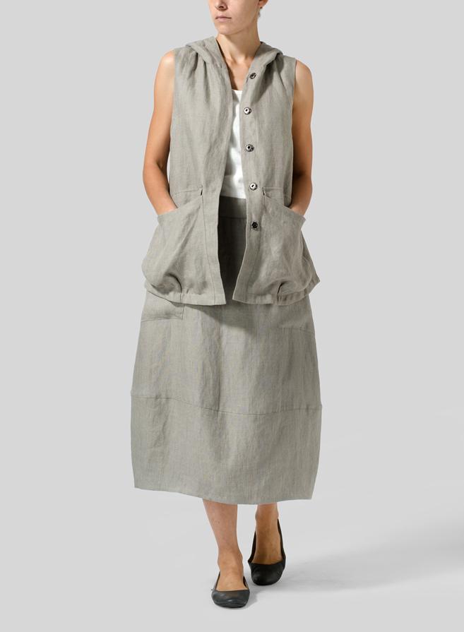 de891c9bdbe ... Gray Linen Loose Lantern Skirt Set ...