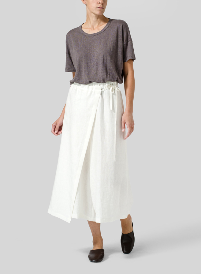 Linen Side-Tie Pleated Wide Leg Pants Set