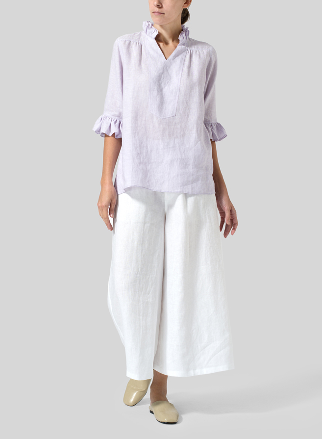 Pastel Mauve Linen Ruffle Stand Collar Top