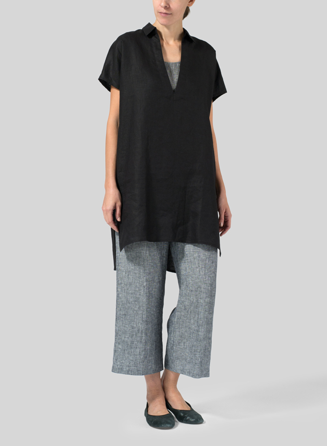 Black Linen Short Sleeve Deep V-Neck Tunic