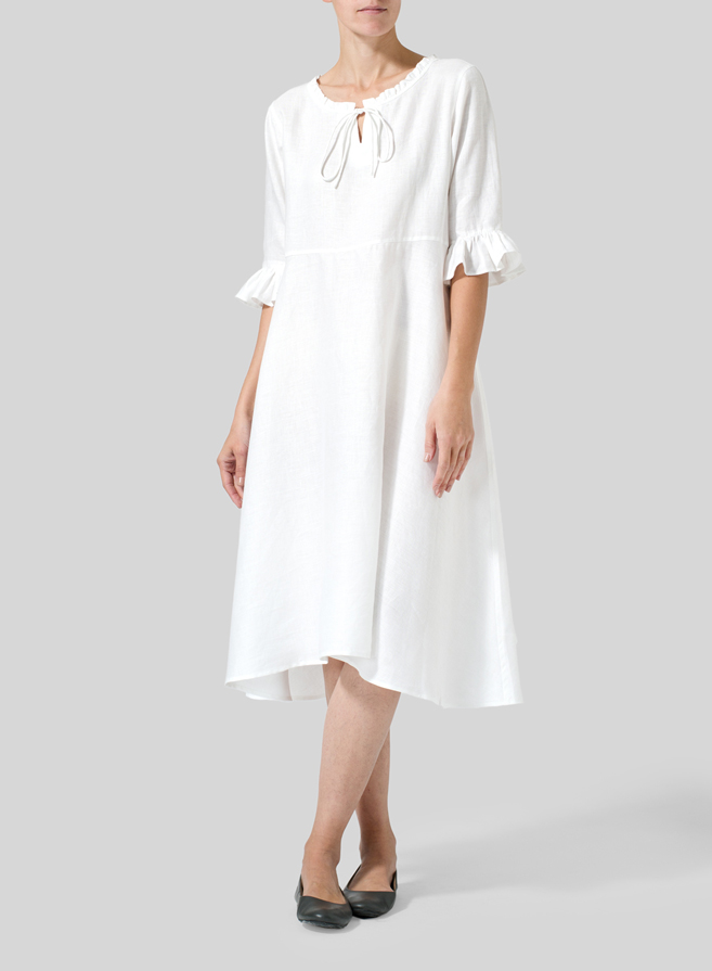 White Linen Ruffle Sleeves Long Dress