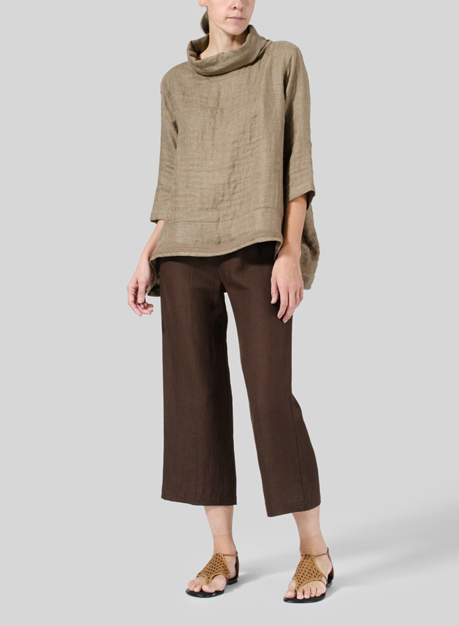 Soil Linen Cowl Neck Top Set
