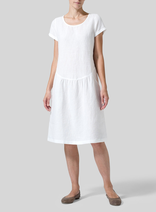 White Linen Short Sleeves Knee-Length Dress