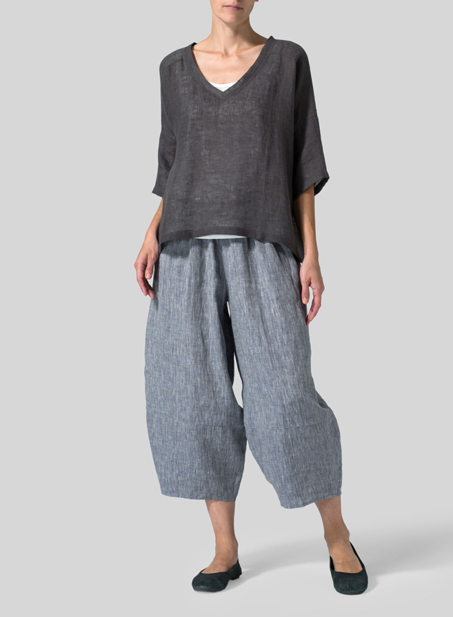 Charcoal Gray Woven Linen Deep V-neck Top