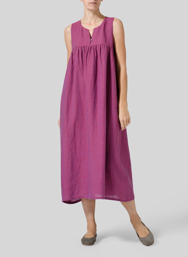 Two Tone Purple Linen Sleeveless Pleated Dress
