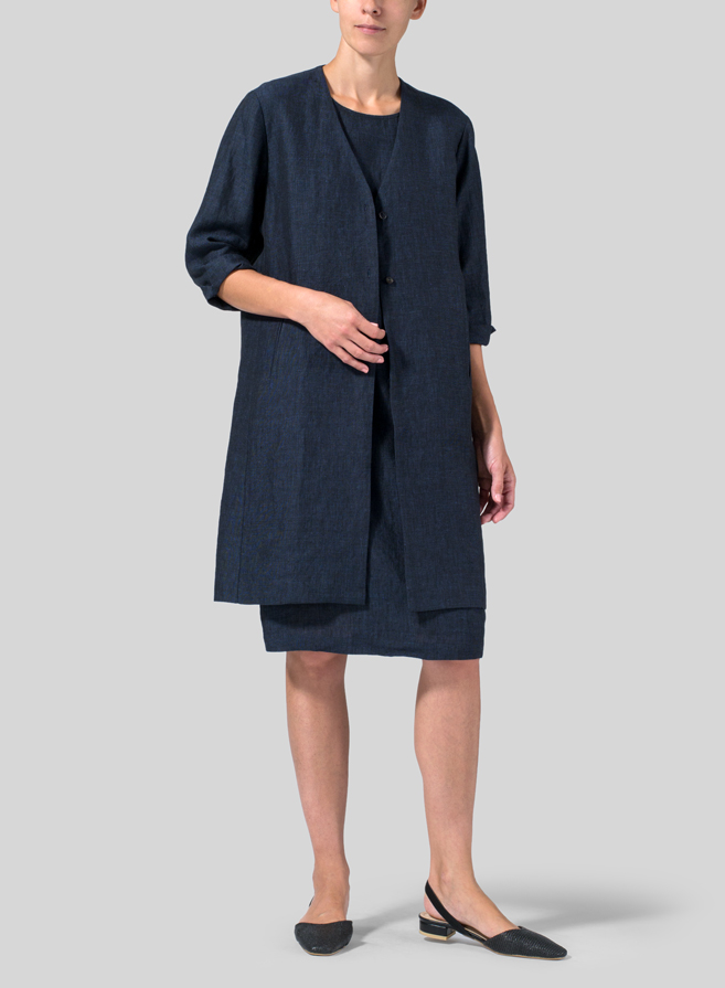 Denim Blue Linen Straight Fit Button-Front Long Jacket