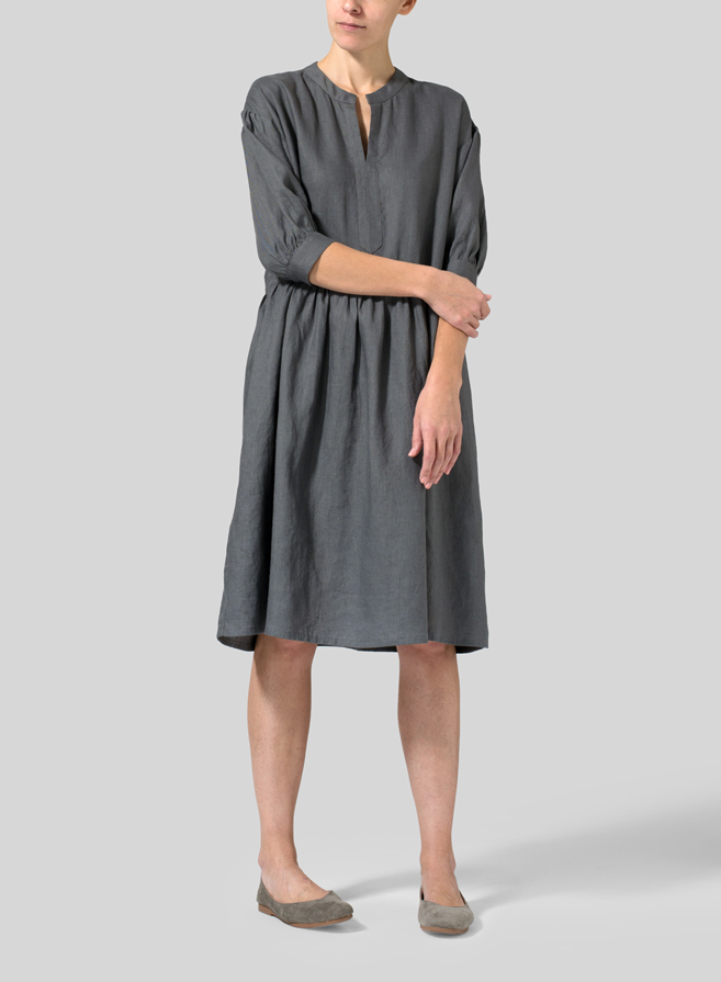 Dark Gray Linen Lantern Dress