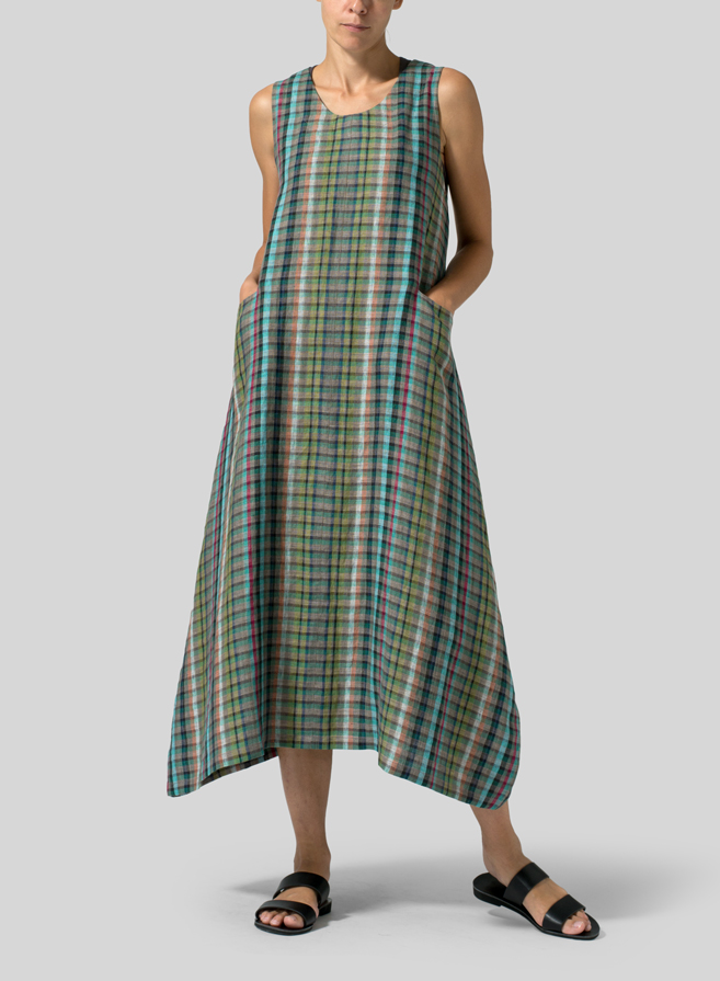 Green Check Linen Sleeveless Long Dress