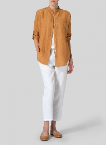 Golden Brown Linen Mandarin Collar Blouse