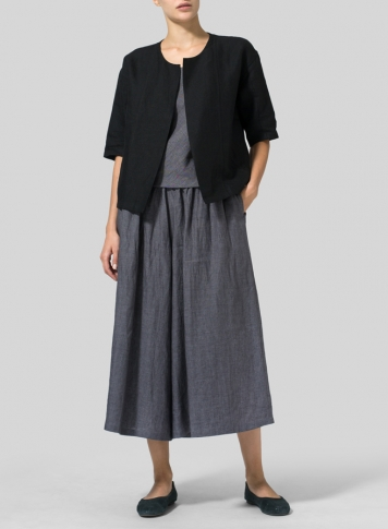 Black Linen Open Front Jacket