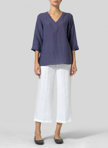Dark Slate Purple Linen V-neckline Pleated Top